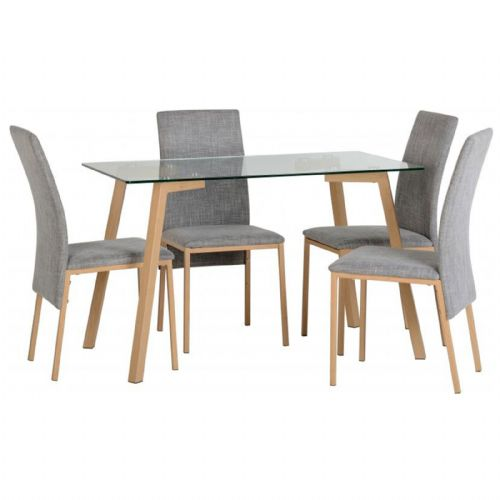 Morton Clear Glass Dining Set With Grey Fabric Chairs